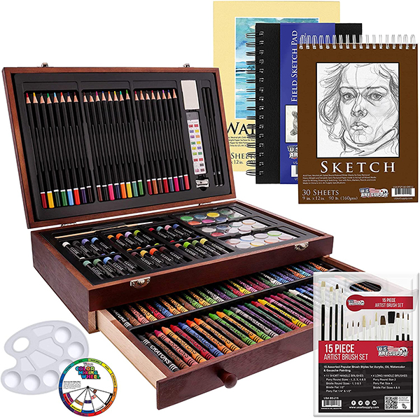 162 Piece-Deluxe Mega Wood Box Art, Painting & Drawing Set